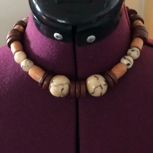 Brown coral and coco beaded necklace
